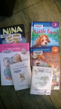 J's loot - she's a big fan of Beatrix Potter