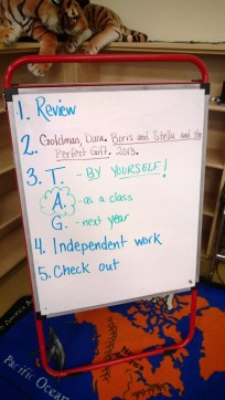 The weekly lesson board
